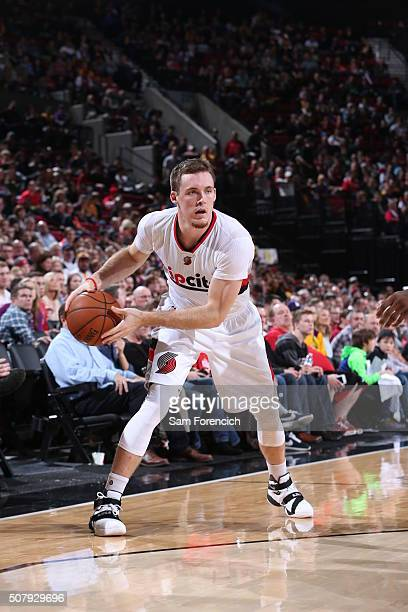 Pat Connaughton of the Portland Trail Blazers handles the ball against the Los Angeles Lakers on January 23 2016 at the Moda Center Arena in Portland...