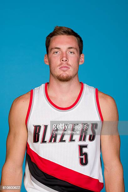 Pat Connaughton of the Portland Trail Blazers poses for a headshot during the 20162017 Portland Trail Blazers media day on September 26 2016 at the...