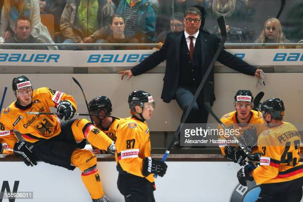Pat Cortina new head coach of Germany looks on during the German Ice Hockey Cup 2012 first round match between Germany and Canada at Olympia Eishalle...