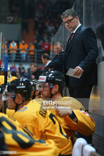 Pat Cortina, new head coach of Germany looks on during the German Ice Hockey Cup 2012 first round match between Germany and Canada at Olympia...