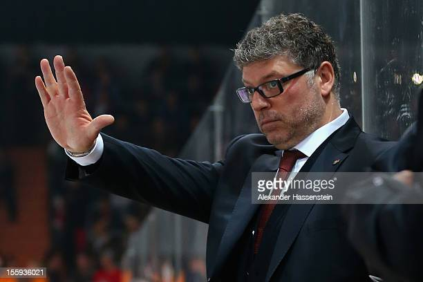 Pat Cortina, new head coach of Germany reacts during the German Ice Hockey Cup 2012 first round match between Germany and Canada at Olympia Eishalle...