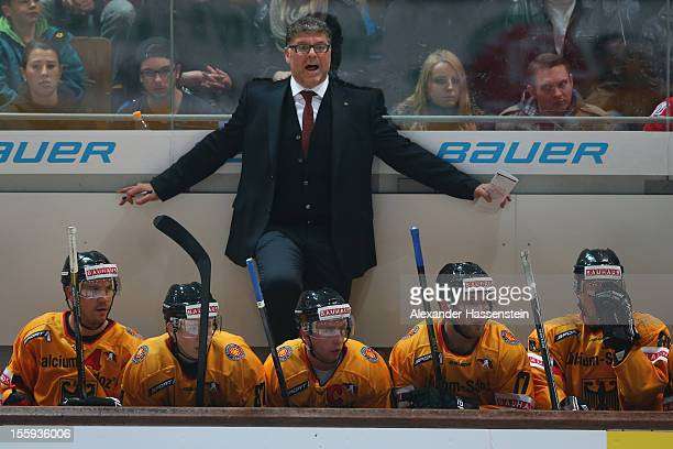 Pat Cortina, new head coach of Germany reats during the German Ice Hockey Cup 2012 first round match between Germany and Canada at Olympia Eishalle...