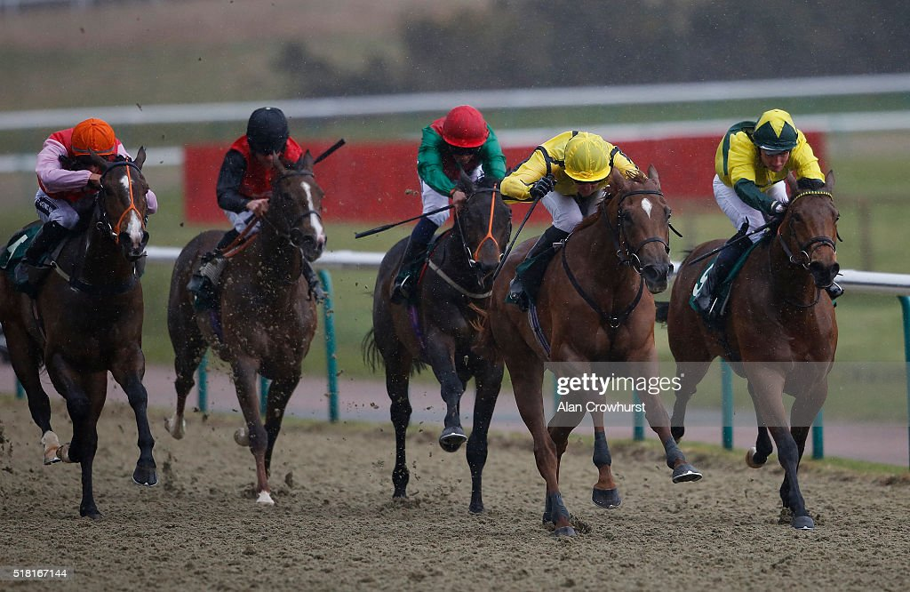 Pat Cosgrave riding Bargain Buy (2R) win The Cantering Cuisine Maiden Auction Stakes at Lingfield racecourse on March 30, 2016 in Lingfield, England.