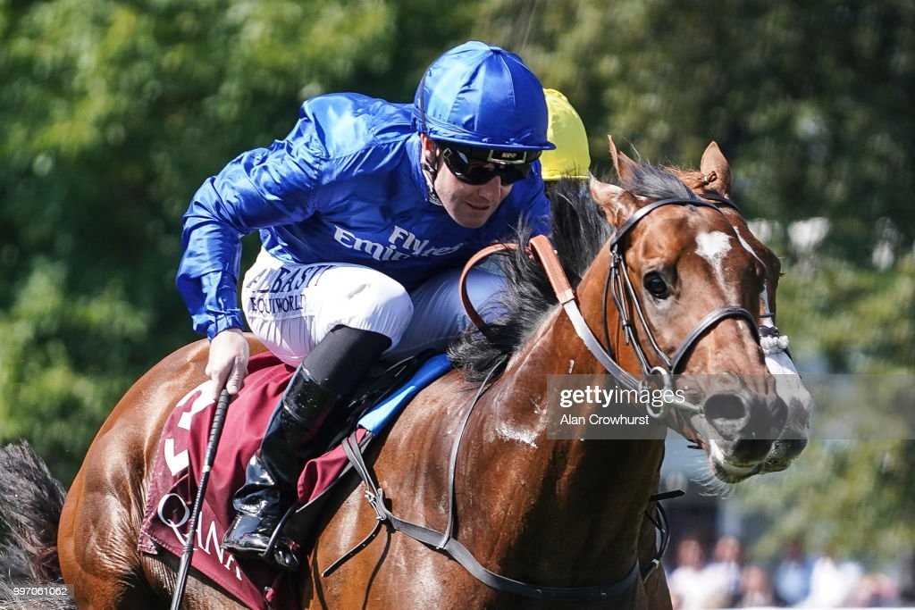 Pat Cosgrave riding Best Solution win The Princess Of Wales's Arqana Racing Club Stakes at Newmarket Racecourse on July 12, 2018 in Newmarket, United Kingdom.