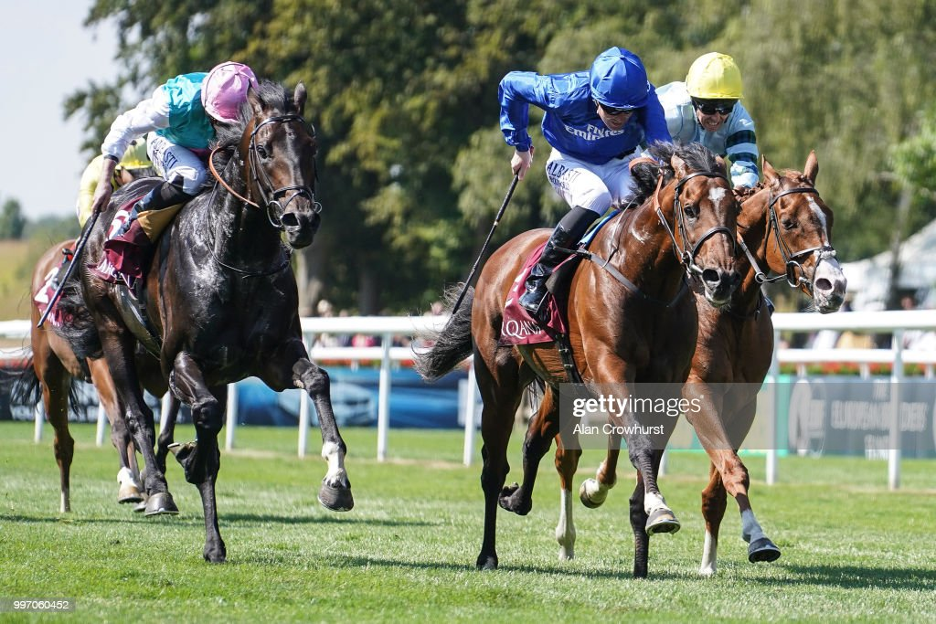 Pat Cosgrave riding Best Solution (C) win ThePrincess Of Wales's Arqana Racing Club Stakes at Newmarket Racecourse on July 12, 2018 in Newmarket, United Kingdom.