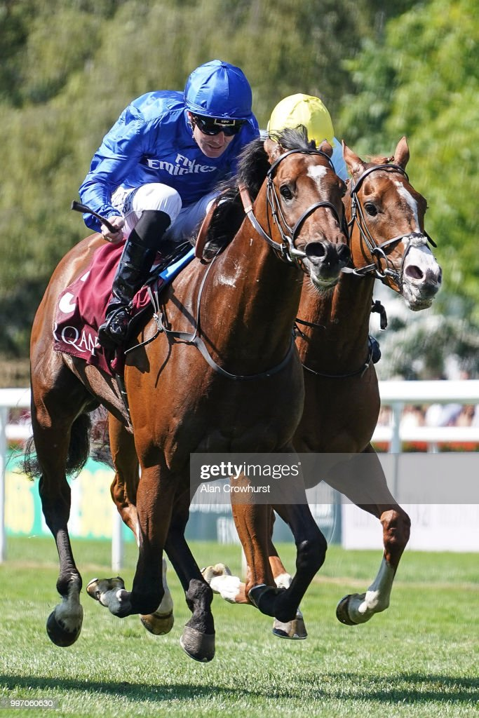 Pat Cosgrave riding Best Solution (L) win ThePrincess Of Wales's Arqana Racing Club Stakes at Newmarket Racecourse on July 12, 2018 in Newmarket, United Kingdom.