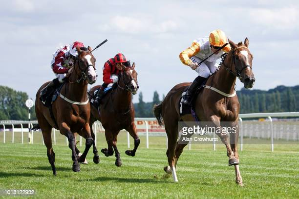 Pat Cosgrave riding Exec Chef win The Christopher Smith Associates Handicap Stakes at Newbury Racecourse on August 17 2018 in Newbury United Kingdom
