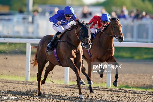 Pat Cosgrave riding Victory Wave win The Irish Lotto At totesport.com Fillies' Handicap at Chelmsford City Racecourse on June 06, 2019 in Chelmsford,...