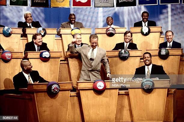 Pat Croce of the Philadelphia 76ers celebrates after winning the No 1 pick at the draft lottery on May 19 1996 in Secaucus New Jersey NOTE TO USER...