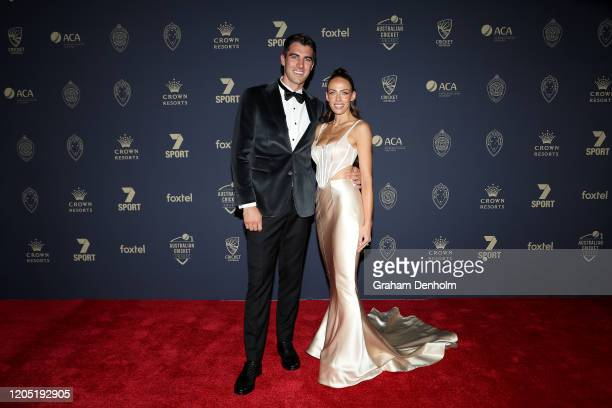 Pat Cummins and fiancé Becky Boston arrive ahead of the 2020 Cricket Australia Awards at Crown Palladium on February 10 2020 in Melbourne Australia