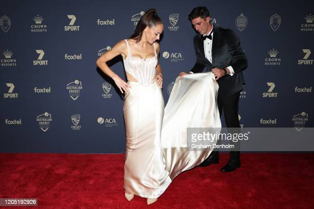 Pat Cummins and fiance Becky Boston arrive ahead of the 2020 Cricket Australia Awards at Crown Palladium on February 10 2020 in Melbourne Australia