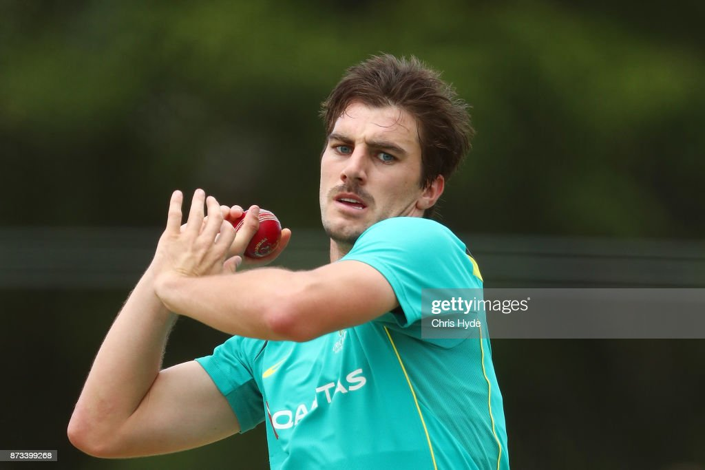 Pat Cummins bowls during day an Australian cricket training session at Allan Border Field on November 13, 2017 in Brisbane, Australia.