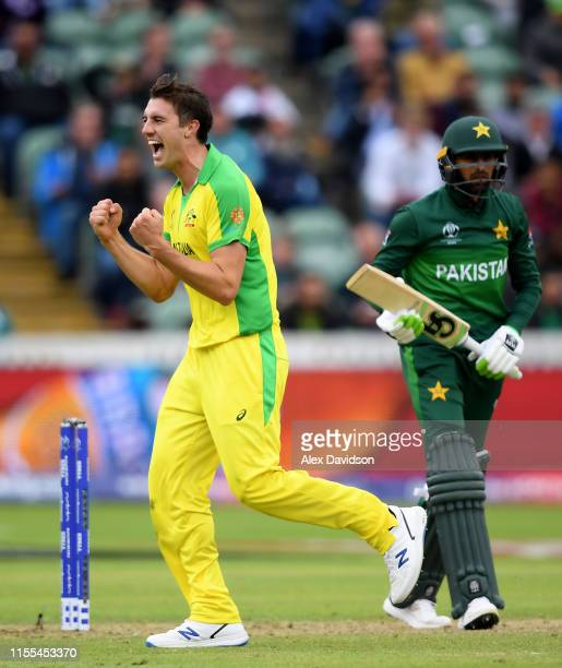 Pat Cummins celebrates taking the wicket of Shoaib Malik of Pakistan during the Group Stage match of the ICC Cricket World Cup 2019 between Australia...