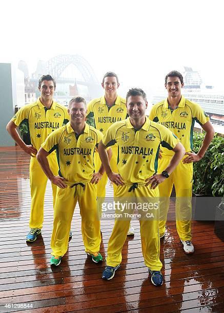 Pat Cummins, David Warner, Josh Hazlewood, Michael Clarke and Mitchell Starc pose during the Australian 2015 Cricket World Cup squad announcement at...