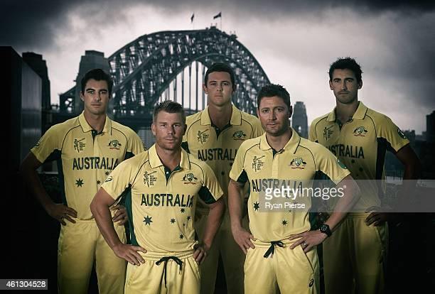 Pat Cummins David Warner Josh Hazlewood Michael Clarke and Mitchell Starc of Australia pose during the Australian 2015 Cricket World Cup squad...