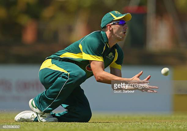 Pat Cummins of Australia A takes a catch to dismiss Sean Abbott of the Cricket Australia National Performance Squad during the Quadrangular Series...