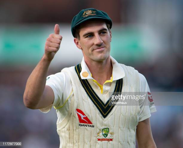 Pat Cummins of Australia acknowledges the fans after taking two wickets in his first over during day two of the 4th Specsavers Ashes Test at Emirates...
