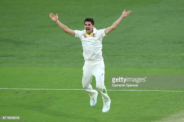 Pat Cummins of Australia appeals for the dismissal of Joe Root of England for lbw during day one of the First Test Match of the 2017/18 Ashes Series...
