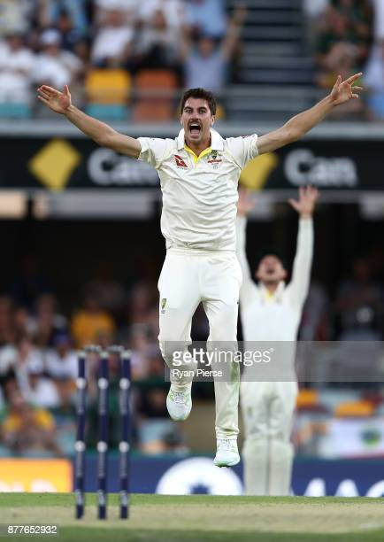 Pat Cummins of Australia appeals for the wicket of Joe Root of England during day one of the First Test Match of the 2017/18 Ashes Series between...