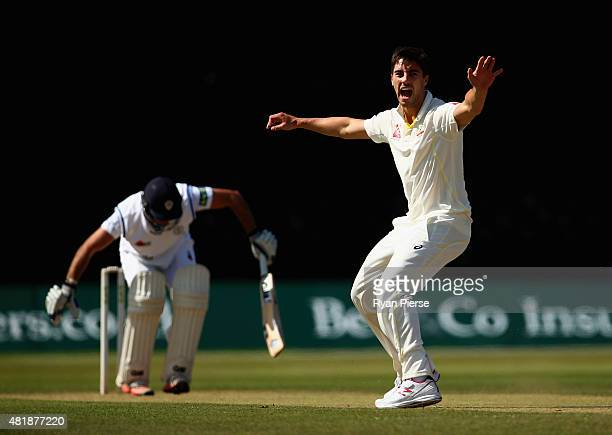 Pat Cummins of Australia appeals for the wicket of Scott Elstone of Derbyshire during day three of the Tour Match between Derbyshire and Australia at...