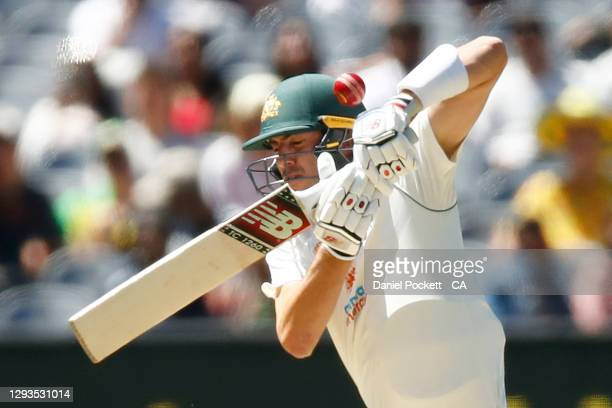 Pat Cummins of Australia bats during day four of the Second Test match between Australia and India at Melbourne Cricket Ground on December 29, 2020...