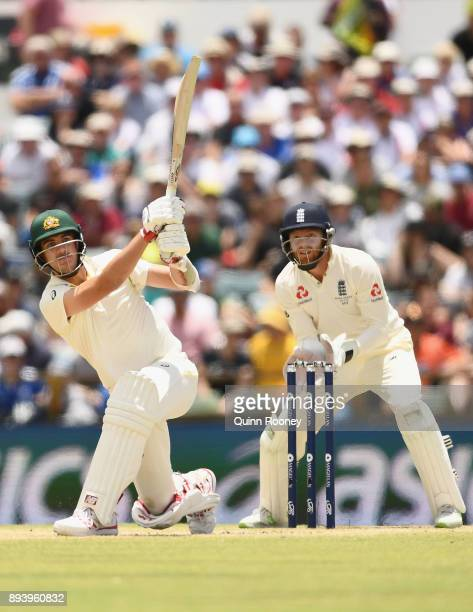 Pat Cummins of Australia bats during day four of the Third Test match during the 2017/18 Ashes Series between Australia and England at WACA on...