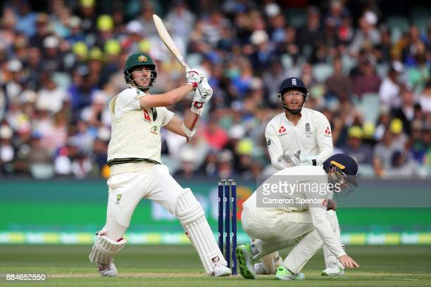 Pat Cummins of Australia bats during day two of the Second Test match during the 2017/18 Ashes Series between Australia and England at Adelaide Oval...
