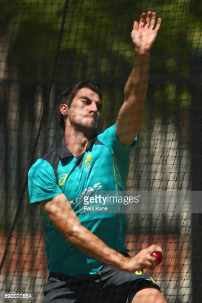Pat Cummins of Australia bowls during an Australian nets session at WACA on December 11 2017 in Perth Australia
