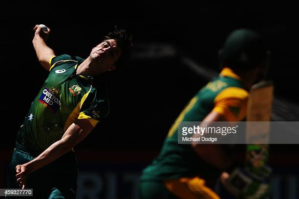 Pat Cummins of Australia bowls to Francois du Plessis of South Africa during game four of the One Day International series between Australia and...