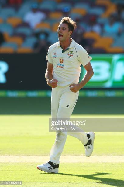 Pat Cummins of Australia celebrates after dismissing Mayank Agarwal of India during day five of the 4th Test Match in the series between Australia...