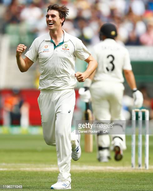 Pat Cummins of Australia celebrates after dismissing Ross Taylor of New Zealand during day three of the Second Test match in the series between...