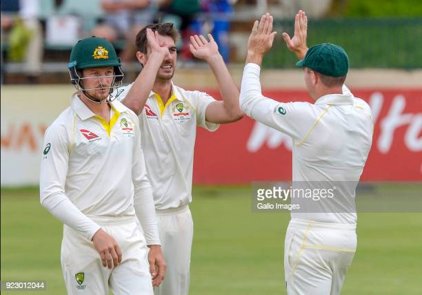 Pat Cummins of Australia celebrates after dismissing Senuran Muthusamy of South Africa during day 1 of the Tour match between South Africa A and...