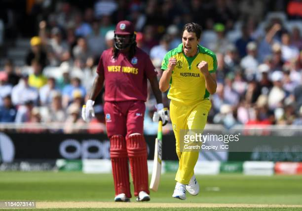 Pat Cummins of Australia celebrates after taking the wicket of Evin Lewis of West Indies during the Group Stage match of the ICC Cricket World Cup...