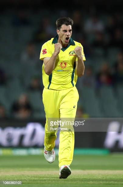 Pat Cummins of Australia celebrates after taking the wicket of Faf du Plessis of South Africa during game two of the Gillette One Day International...