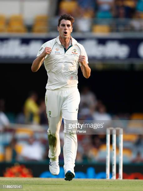 Pat Cummins of Australia celebrates after taking the wicket of Shaheen Shah Afridi during day one of the 1st Domain Test between Australia and...
