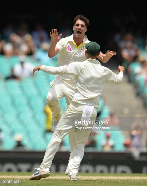 Pat Cummins of Australia celebrates after the dismissal of Jonny Bairstow of England during the fifth day of the fifth Ashes cricket test match...