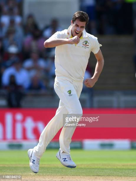 Pat Cummins of Australia celebrates bowling Jos Buttler of England during day five of the 1st Specsavers Ashes Test between England and Australia at...
