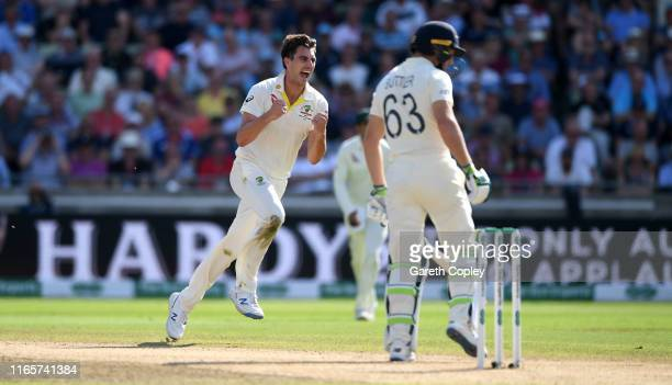 Pat Cummins of Australia celebrates dismissing Jos Buttler of England during day two of the 1st Specsavers Ashes Test between England and Australia...