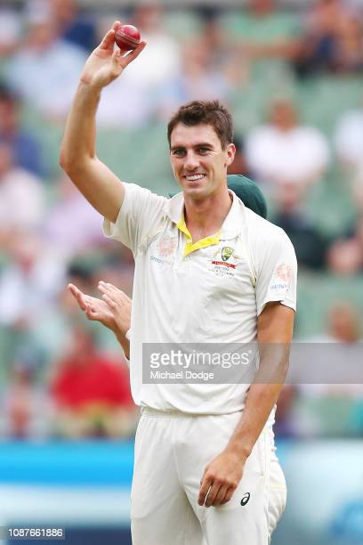 Pat Cummins of Australia celebrates his five wicket haul during day four of the Third Test match in the series between Australia and India at...