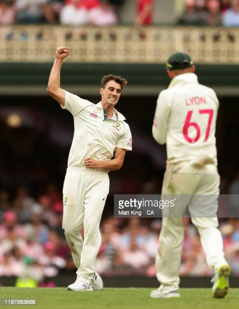 Pat Cummins of Australia celebrates taking the wicket of BJ Watling of New Zealand during day three of the Third Test match in the series between...
