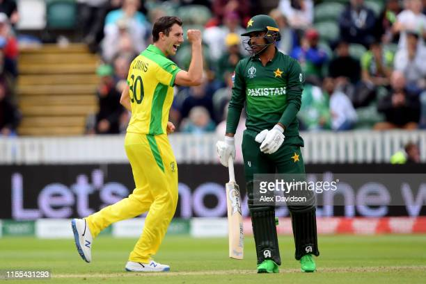 Pat Cummins of Australia celebrates taking the wicket of Fakhar Zaman of Pakistan during the Group Stage match of the ICC Cricket World Cup 2019...