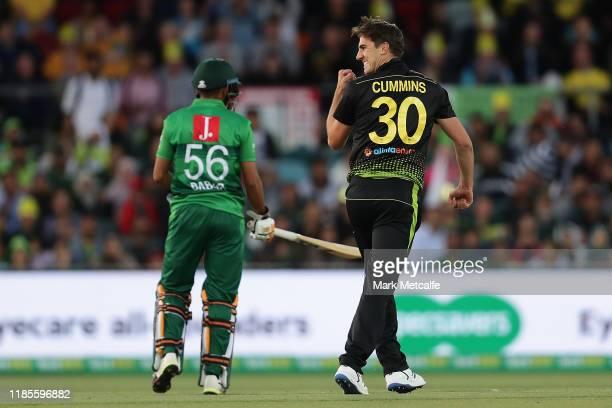 Pat Cummins of Australia celebrates taking the wicket of Fakhar Zaman of Pakistan during game two of the International Twenty20 series between...
