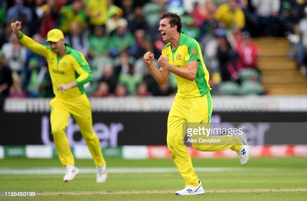 Pat Cummins of Australia celebrates taking the wicket of Imam ul-Haq of Pakistan during the Group Stage match of the ICC Cricket World Cup 2019...