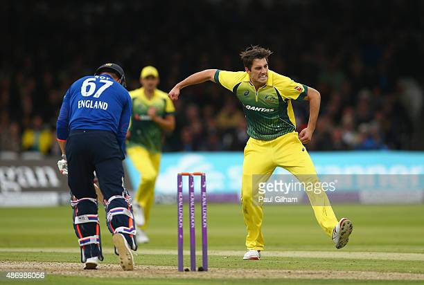Pat Cummins of Australia celebrates taking the wicket of Jason Roy of England for 31 runs during the 2nd Royal London OneDay International match...