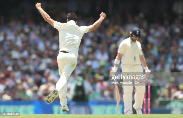 Pat Cummins of Australia celebrates taking the wicket of Mark Stoneman of England during day one of the Fifth Test match in the 2017/18 Ashes Series...