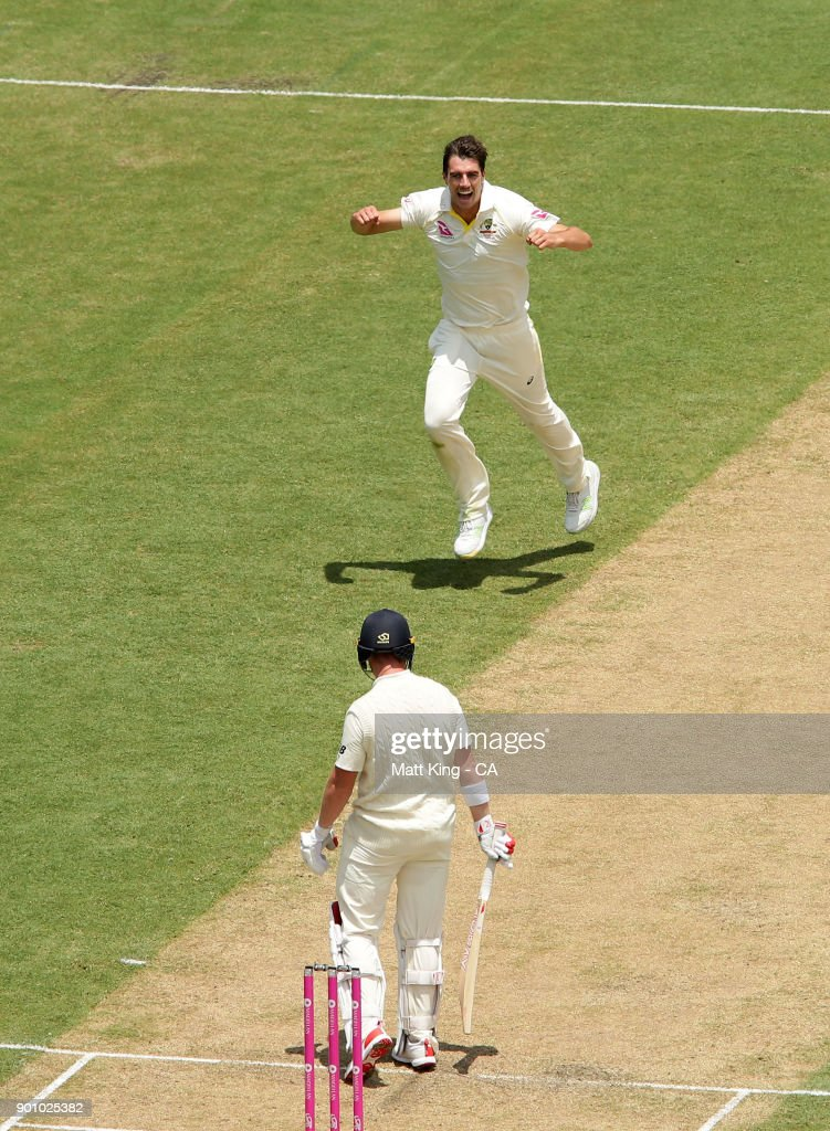 Pat Cummins of Australia celebrates taking the wicket of Mark Stoneman of England during day one of the Fifth Test match in the 2017/18 Ashes Series between Australia and England at Sydney Cricket Ground on January 4, 2018 in Sydney, Australia.