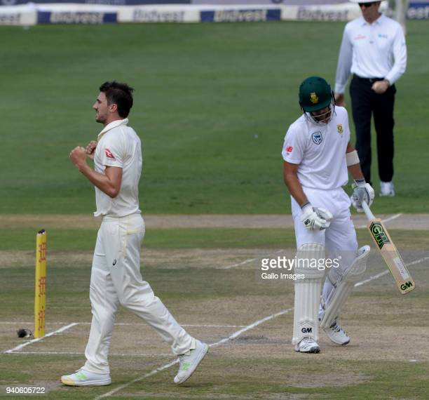 Pat Cummins of Australia celebrates the wicket of Aiden Markram of the Proteas during day 3 of the 4th Sunfoil Test match between South Africa and...