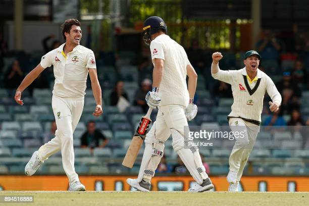 Pat Cummins of Australia celebrates the wicket of Chris Woakes of England and reclaiming the Ashes during day five of the Third Test match during the...