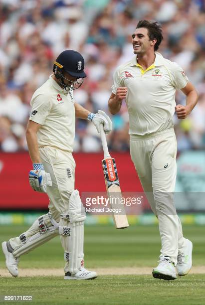 Pat Cummins of Australia celebrates the wicket of Chris Woakes of England during day three of the Fourth Test Match in the 2017/18 Ashes series...