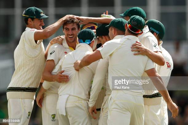 Pat Cummins of Australia celebrates the wicket of Stuart Broad of England during day five of the Third Test match during the 2017/18 Ashes Series...